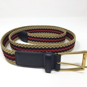 GUCCI Striped Belt w/ Leather Accents - Bee Detail